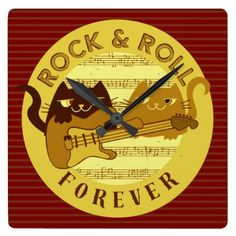 Cat Rock Music Electric Guitar Golden Stripes Chic Square Wall Clock - chic design idea diy elegant beautiful stylish modern exclusive trendy