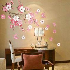 Sakura flor quarto sala Vinyl Decal Art DIY Wall Decor início etiqueta removível adesivos papel de parede Poster transparente