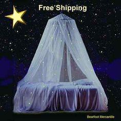 Glow n Dark Bed Canopy Stars Bed Netting Girls Bedroom Bedding Fun Princess Girl
