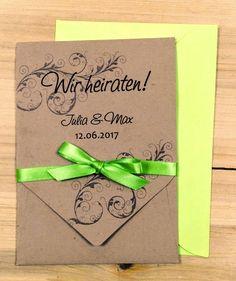 Hochzeitseinladung Vintage Pocketfold - Maigrün