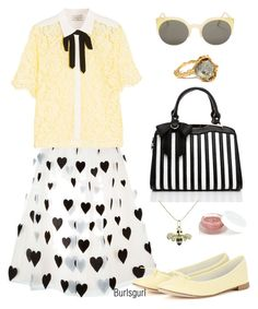 """Pale Yellow"" by burlsgurl ❤ liked on Polyvore featuring Alighieri, Alice + Olivia, RetroSuperFuture, Sandro, Sydney Evan, Repetto and rms beauty"