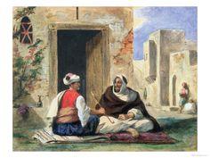 Arab men smoking in front of a house Giclee Print by Ferdinand Victor Eugene Delacroix History Images, Art History, Dune, Eugène Delacroix, Romanticism Artists, Romanesque Art, Art Roman, Oran, Arab Men