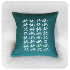 Bike Pillow Cover 16 x 16 Multiple Bikes Screen Printed on Forest Green by Boomerang360 on Etsy