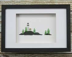 Original Pebble Art Design,Sea Glass Art,Lighthouse Art,Rock Art,Nautical Decor,Beach Decor,Simple Decor,Unique Gift,Art by M. McGuinness!