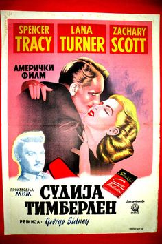 CASS TIMBERLAINE 1947 LANA TURNER SPENCER TRACY CYRILLIC RARE EXYU MOVIE POSTER