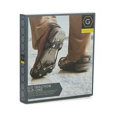 These ice traction slip-ons from Gadget Co. are ultra-light and highly-elastic so they can stretch easily over most shoes and boots. They feature ground-gripping studs for added traction and built-in cold-resistant thermoplastic for extra strength and durability.