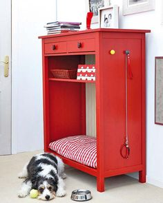 Cute repurposed chest of drawers. Nook for a dog