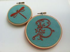 Initial and Dragonfly. hand embroidered monogram. hoop art. pink, aqua, green.  personalized gift. custom letter. home decor. birthday gift.