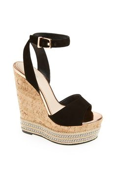 CJG 'Miami' Wedge available at Pretty Shoes, Beautiful Shoes, Shoe Boots, Heeled Boots, Black High Heels, Black Wedge Shoes, Hot Shoes, Girls Shoes, Pumps Heels
