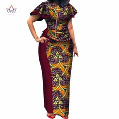 2020 Autumn Women African Clothing Top And Skirt Set O neck Bazin Riche Short Sleeve Plus Size Evening Dress Naturl Latest African Fashion Dresses, African Dresses For Women, African Print Dresses, African Print Fashion, African Attire, African Women, Nigerian Dress Styles, Nigerian Fashion, Traditional African Clothing