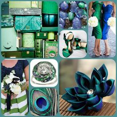 Three Rings Emerald Ring With Two Diamond Matching Band Wedding Jessica Mcmahon Navy Blue And Green Colors