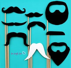 Mustache Party on a Stick. 9 Unique Staches, comes with FREE 'Stache Definition Signage to Frame for Party. Goatee, Ducktail.... $22.50, via Etsy.
