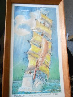 Watercolour painting ship off Scarborough Signed C H Clarke 1966