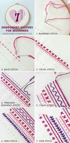Embroidery stitches for begining sewing,,