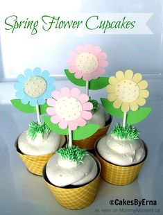 Spring Flower Cupcakes - Perfect for a Spring #BabyShower too!