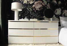 DIY - Ikea Hack, Customize and Glamorize a Malm dresser with gold contact paper Ikea Malm Dresser, Furniture Hacks, Ikea Makeover, Ikea Storage, Dresser Decor, Furniture, Ikea Furniture, Gold Dresser, Home Decor