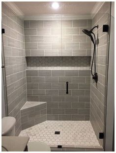 If you are looking for Master Bathroom Shower Remodel Ideas, You come to the right place. Here are the Master Bathroom Shower Remodel Ideas. Master Bathroom Shower, Modern Bathroom, Bathroom Grey, Bathroom Closet, Master Bathrooms, Minimalist Bathroom, Showers For Small Bathrooms, Small Walk In Showers, Wood Look Tile Bathroom