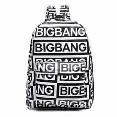 Now available online:  Korean style fash... Love it http://www.ejulaba.com/products/korean-style-fashion-kpop-black-canvas-bigbang-fans-bagpack-g-dragon-punk-rock-backpack-school-bag-for-teenager-girls?utm_campaign=social_autopilot&utm_source=pin&utm_medium=pin