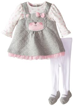 Nannette Baby-Girls Newborn Dress with Floral Printed Sleeves Bear Applique with Legging, Grey, Months Baby & Toddler Clothing, Toddler Outfits, Boy Outfits, Baby Girl Newborn, Baby Girls, Princess Outfits, Little Girl Dresses, Baby Knitting, Baby Dress