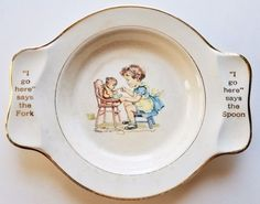 Vtg Child's Plate Spoon Fork International Silver Co Salem China Patent 88343 #InternationalSilver