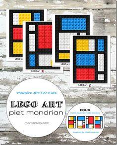 Introduce fine art to your kids in a fun way - with these inventive Piet Mondrian LEGO art printable cards. Piet Mondrian, Mondrian Kunst, Art Lessons For Kids, Art Lessons Elementary, Art For Kids, Legos, Deco Lego, Lego Poster, Lego Activities