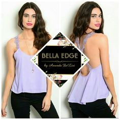 Lilac lavender lace strap top 100% POLYESTER. Beautiful Lilac color with high-low style, open back, crossed lace straps. Size small to large. Bella Edge Boutique  Tops Tank Tops
