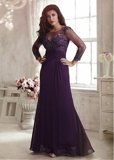 Wonderful Chiffon Scoop Neckline Sheath Floor-Length Mother Of The Bride Dresses With Beaded Lace Appliques