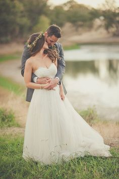 Natural romance in a gorgeous picture #brideandgroom #wedding http://www.roughluxejewelry.com/