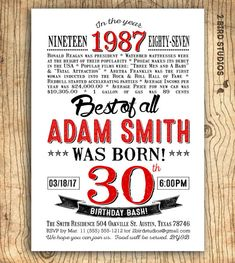 Gold lettering surprise party invitations for him pinterest 30th birthday invitation surprise 30th birthday party invitation 30th birthday for him invitation filmwisefo