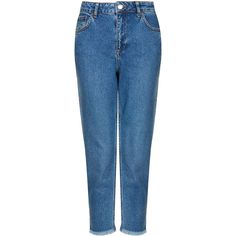 TOPSHOP MOTO Raw Hem Mom Jeans (2.005 RUB) ❤ liked on Polyvore featuring jeans, pants, bottoms, topshop, mid stone, checkered jeans, high-waisted jeans, topshop jeans, blue high waisted jeans and high rise jeans
