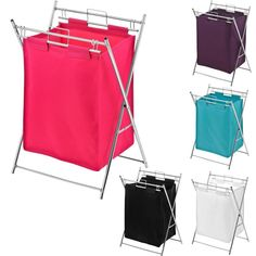 FOLDING LAUNDRY BASKET WITH 2 DIFFERENT COLOUR BAGS & CHROME FINISH FRAME