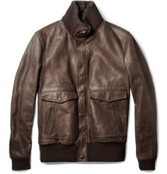 Dolce & Gabbana Shearling-Collar Leather Bomber Jacket