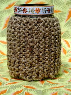 knit jar/vase cover made with twine