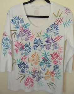 Colorful Hand Painted Embellished Knit Women's Top at heartbridge.etsy.com    $45.00  (20% off coupon available)