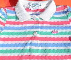 37d41bace9 vintage 80s kid IZOD LACOSTE golf shirt stripes polo long sleeve girl 5  Small