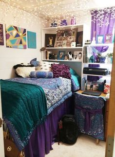 This purple and blue bohemian dorm is full of cute dorm room ideas!