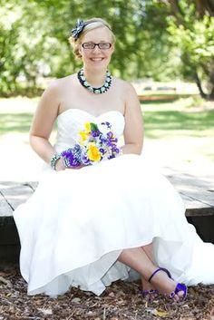 Kaitlyn in her purple Angela Nuran Eternity bridal shoes on her wedding day