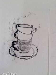 Trace Monoprint of tea cups by linda germain Do You Work, Work Hard, Linocut Prints, Art Prints, Block Prints, Encaustic Painting, Chalk Pastels, Illuminated Letters, Pattern Illustration