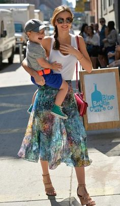 Miranda Kerr and son Flynn Bloom out and about in New York.