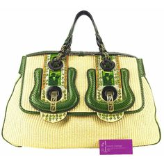 Model : Fendi B Bag, Material : Snake Skin With Straw +Beads, Hardware : Rustic Gold, Color : Light Beige/ Green, Measurement : L 38/47 X H 26 X W 12 cm, Condition : Good, Remarks : Dust Bag.