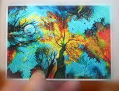 Evening celebration, Aceo original, tree art, moon art, fine art photography, turquoise sky atc, autumn aceo, ATC, Fall, landscape on Etsy, $10.00