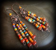 Jasper, Glass and Copper Flower Beaded Earrings. $38.00, via Etsy.