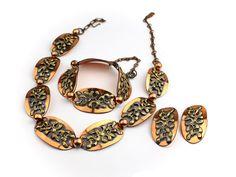 Copper Parure Necklace Set  1940s Jewelry by ClassiqueStyle, $54.00