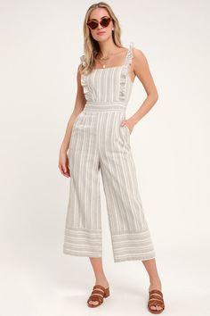 5678d46ad5c Emilia Rae White and Beige Striped Ruffle Culotte Jumpsuit