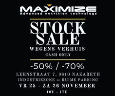 Stockverkoop Voeding / supplementen voor  Kracht- en Duursporters -- Zingem -- 26/11-27/11