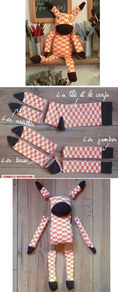 DIY : Doudou with socks Sock Crafts, Sewing Crafts, Sewing Projects, Diy Projects, Sock Toys, Sock Animals, Couture Sewing, Sewing Dolls, Diy Toys