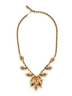 Topaz & Clear Glass Bib Necklace by House of Lavande at Gilt