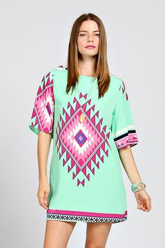 GANADO PRINT CHIFFON SHIFT DRESS-Mint