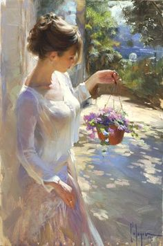 "Beautiful oil paintings from Russian painter Vladimir Volegov at http://www.volegov.com/ ""New Flowers"", 2016, oil on canvas, 92 x 61cm, ©Vladimir Volegov"