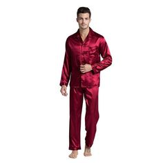 f43619716b Tony Candice Men s Stain Silk Pajama Set Men Pajamas Silk Sleepwear Men  Sexy Modern Style Soft Cozy Satin Nightgown Men Summer